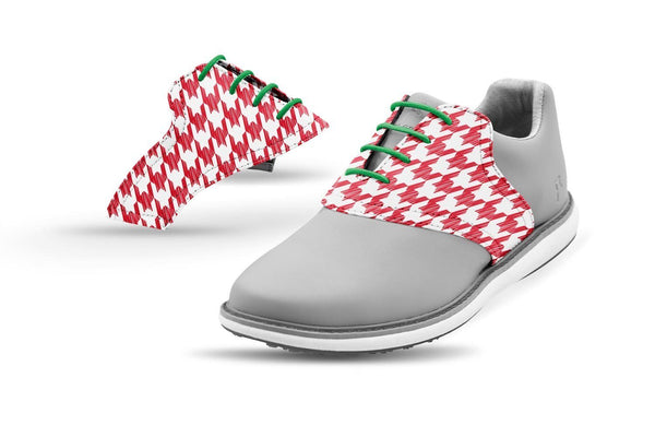 Women's Houndstooth Red Forest Laces Saddles On Grey Golf Shoe From Jack Grace USA