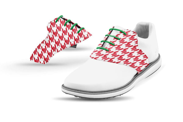 Women's Houndstooth Red Forest Laces Saddles On White Golf Shoe From Jack Grace USA