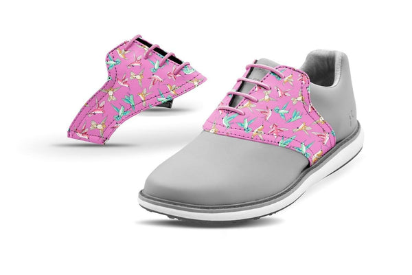 Women's Hummingbirds Saddles On Grey Golf Shoe From Jack Grace USA