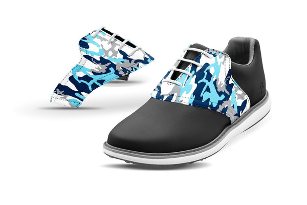 Women's Ice Camo Saddles On Black Golf Shoe From Jack Grace USA