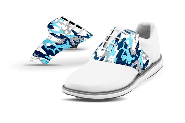 Women's Ice Camo Saddles On White Golf Shoe From Jack Grace USA