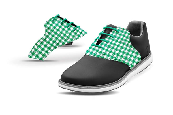 Women's Kelly Green Gingham Saddles On Black Golf Shoe From Jack Grace USA