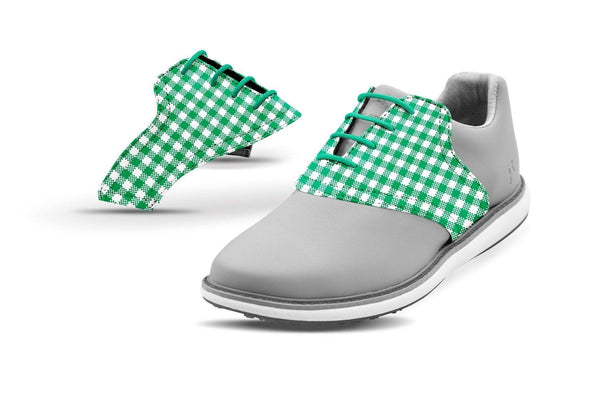 Women's Kelly Green Gingham Saddles On Grey Golf Shoe From Jack Grace USA