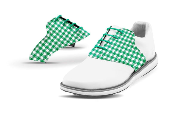 Women's Kelly Green Gingham Saddles On White Golf Shoe From Jack Grace USA
