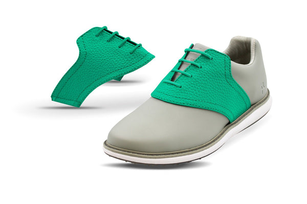 Women's Kelly Green Pebble Saddles On Grey Golf Shoe From Jack Grace USA