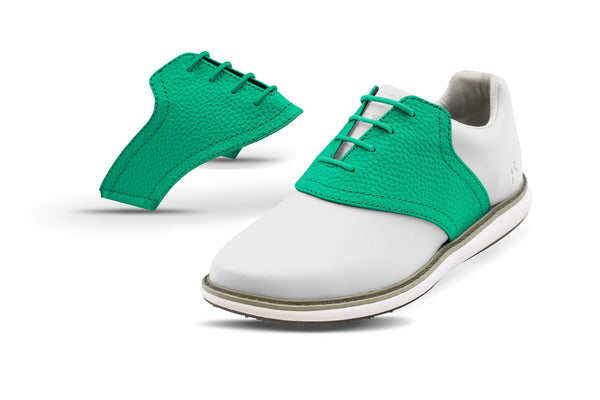 Women's Kelly Green Pebble Saddles On White Golf Shoe From Jack Grace USA