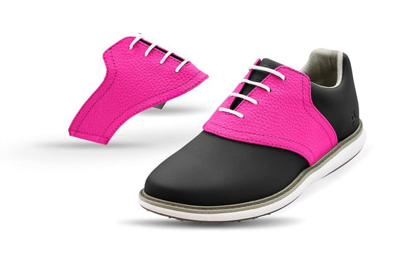 Women's Knockout Pink Saddles On Black Golf Shoe From Jack Grace USA