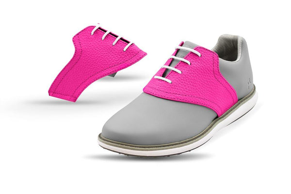 Women's Knockout Pink Saddles On Grey Golf Shoe From Jack Grace USA