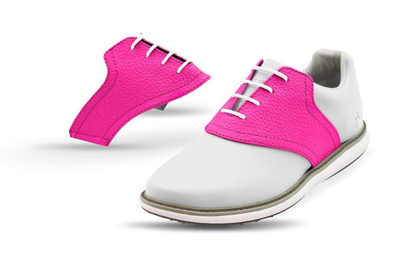 Women's Knockout Pink Saddles On White Golf Shoe From Jack Grace USA