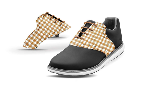 Women's Latte Gingham Saddles On Black Golf Shoe From Jack Grace USA