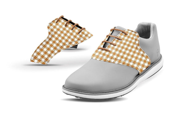 Women's Latte Gingham Saddles On Grey Golf Shoe From Jack Grace USA