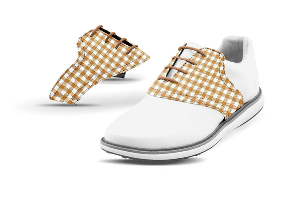 Women's Latte Gingham Saddles On White Golf Shoe From Jack Grace USA