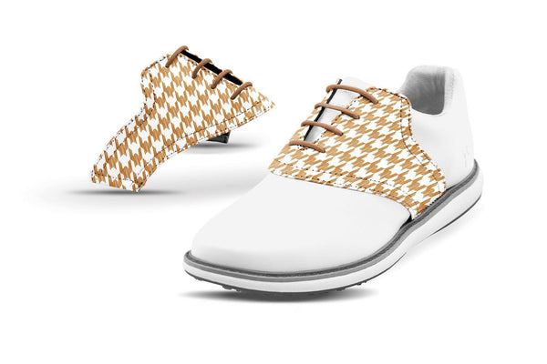 Women's Houndstooth Latte Saddles On White Golf Shoe From Jack Grace USA