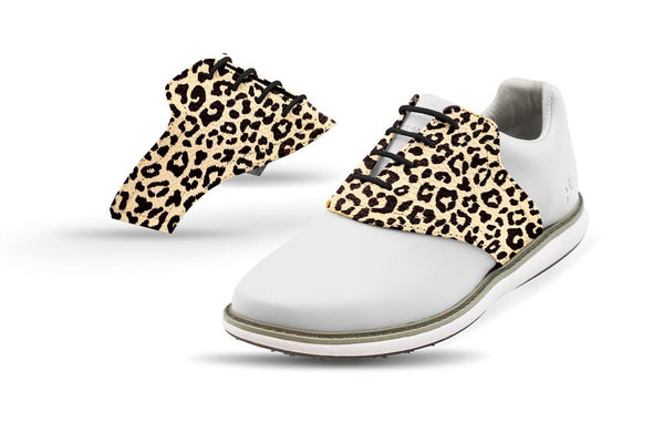 Women's Leopard Saddles On White Golf Shoe From Jack Grace USA