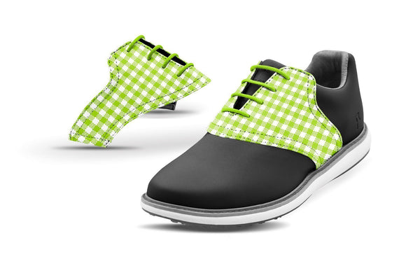 Women's Lime Green Gingham Saddles On Black Golf Shoe From Jack Grace USA