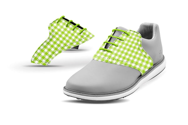Women's Lime Green Gingham Saddles On Grey Golf Shoe From Jack Grace USA