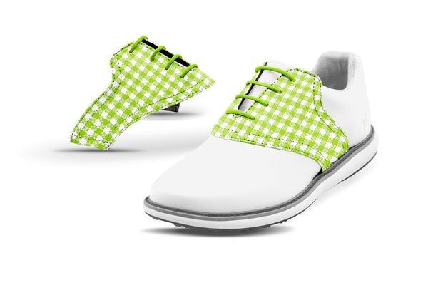Women's Lime Green Gingham Saddles On White Golf Shoe From Jack Grace USA