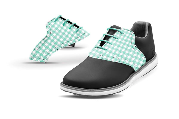 Women's Mint Gingham Saddles On Black Golf Shoe From Jack Grace USA