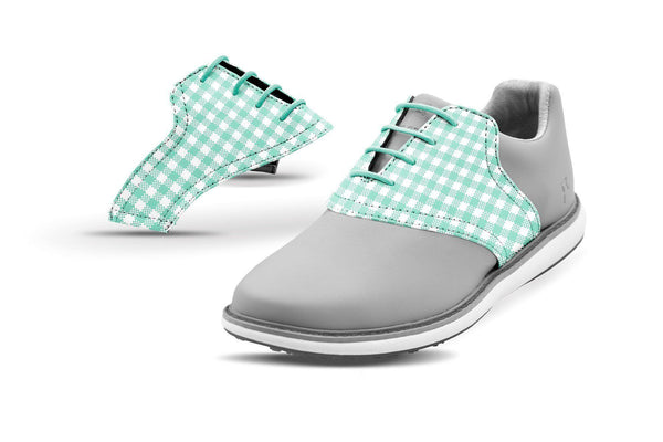 Women's Mint Gingham Saddles On Grey Golf Shoe From Jack Grace USA