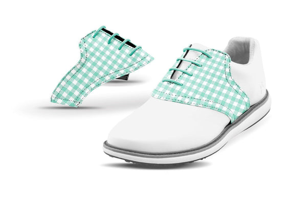 Women's Mint Gingham Saddles On White Golf Shoe From Jack Grace USA