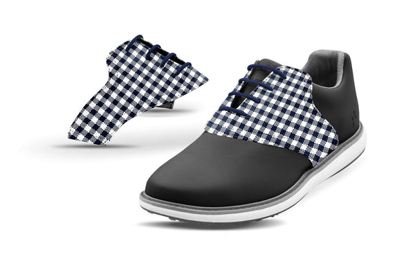 Women's Navy Gingham Saddles On Black Golf Shoe From Jack Grace USA