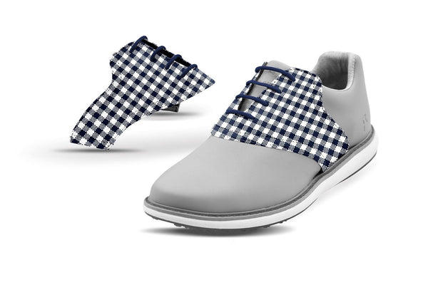 Women's Navy Gingham Saddles On Grey Golf Shoe From Jack Grace USA