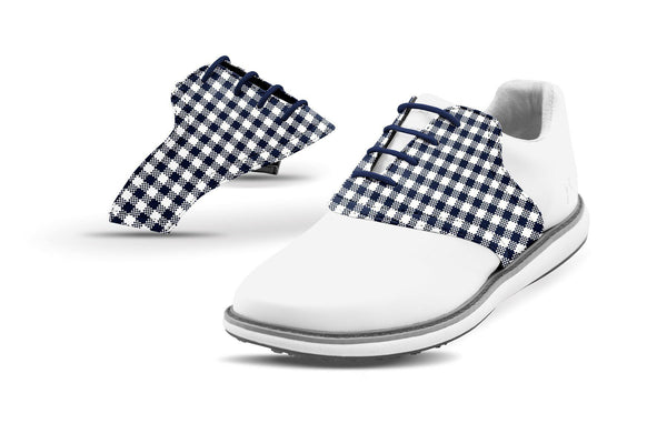Women's Navy Gingham Saddles On White Golf Shoe From Jack Grace USA