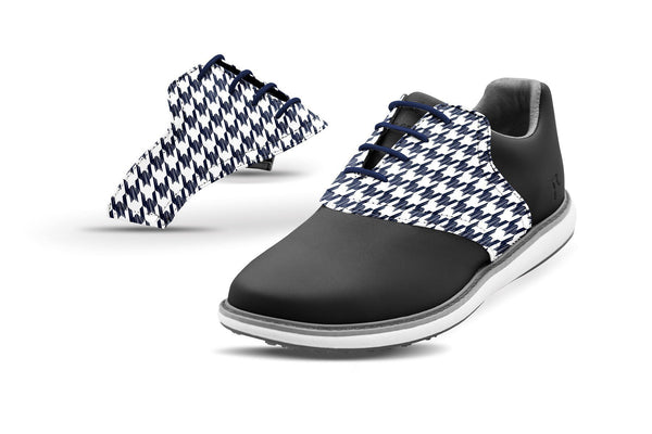 Women's Houndstooth Navy Saddles On Black Golf Shoe From Jack Grace USA