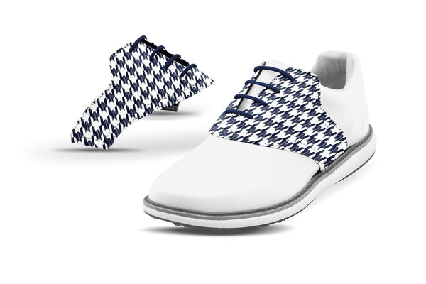 Women's Houndstooth Navy Saddles On White Golf Shoe From Jack Grace USA