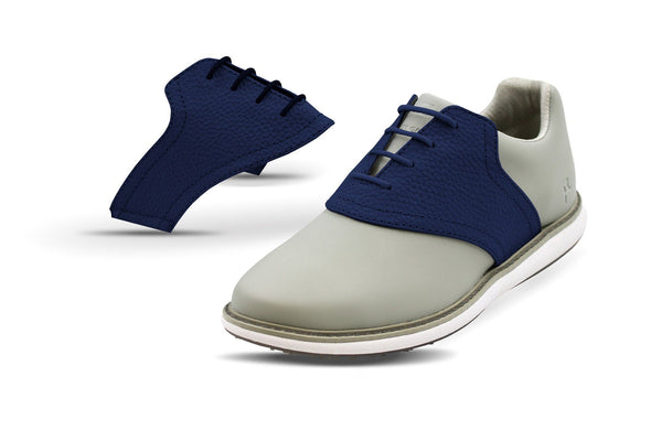 Women's Navy Pebble Saddles On Grey Golf Shoe From Jack Grace USA