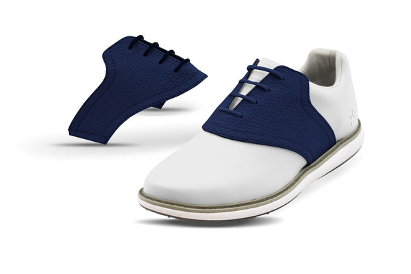 Women's Navy Pebble Saddles On White Golf Shoe From Jack Grace USA