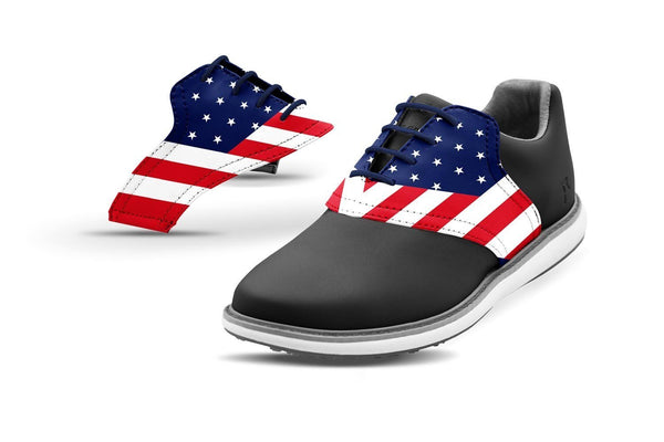 Women's Old Glory Saddles On Black Golf Shoe From Jack Grace USA