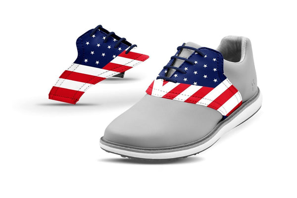 Women's Old Glory Saddles On Grey Golf Shoe From Jack Grace USA