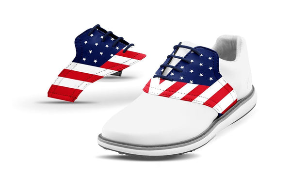 Women's Old Glory Saddles On White Golf Shoe From Jack Grace USA