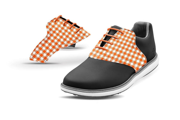Women's Orange Gingham Saddles On Black Golf Shoe From Jack Grace USA