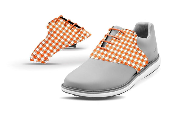Women's Orange Gingham Saddles On Grey Golf Shoe From Jack Grace USA