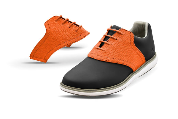 Women's Orange Pebble Saddles On Black Golf Shoe From Jack Grace USA