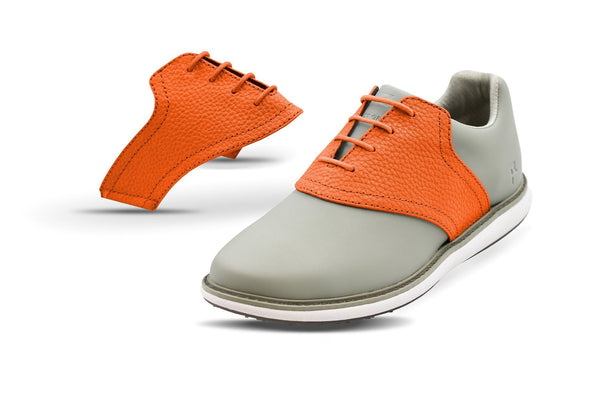 Women's Orange Pebble Saddles On Grey Golf Shoe From Jack Grace USA