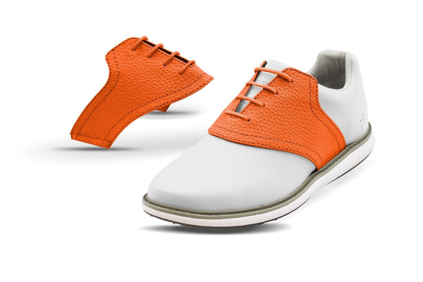 Women's Orange Pebble Saddles On White Golf Shoe From Jack Grace USA