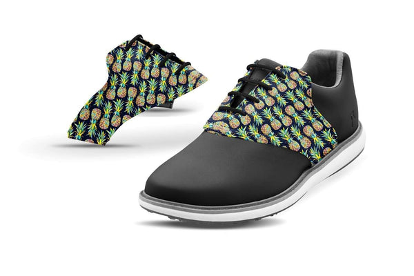 Women's Pineapples Saddles On Black Golf Shoe From Jack Grace USA
