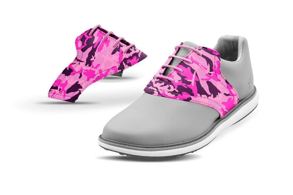 Women's Pink Camo Saddles On Grey Golf Shoe From Jack Grace USA