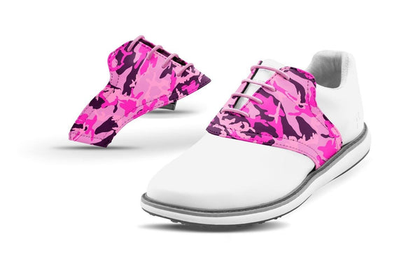 Women's Pink Camo Saddles On White Golf Shoe From Jack Grace USA