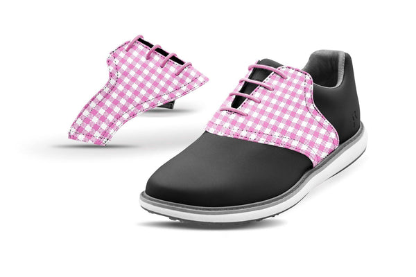 Women's Pink Gingham Saddles On Black Golf Shoe From Jack Grace USA