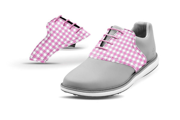 Women's Pink Gingham Saddles On Grey Golf Shoe From Jack Grace USA