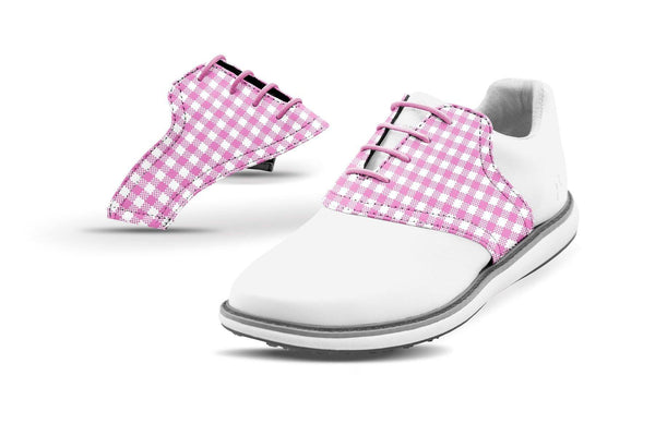 Women's Pink Gingham Saddles On White Golf Shoe From Jack Grace USA