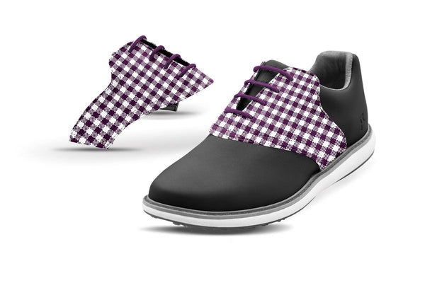 Women's Plum Gingham Saddles On Black Golf Shoe From Jack Grace USA