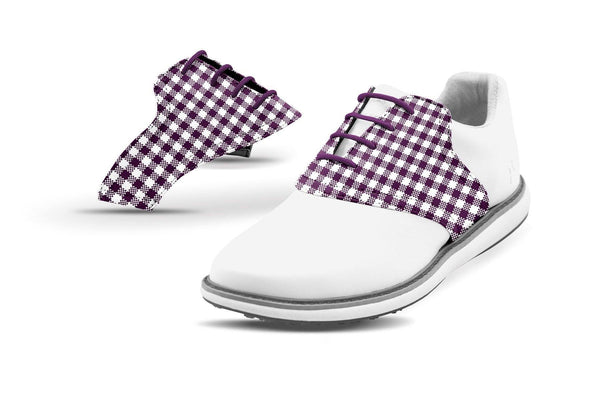 Women's Plum Gingham Saddles On White Golf Shoe From Jack Grace USA