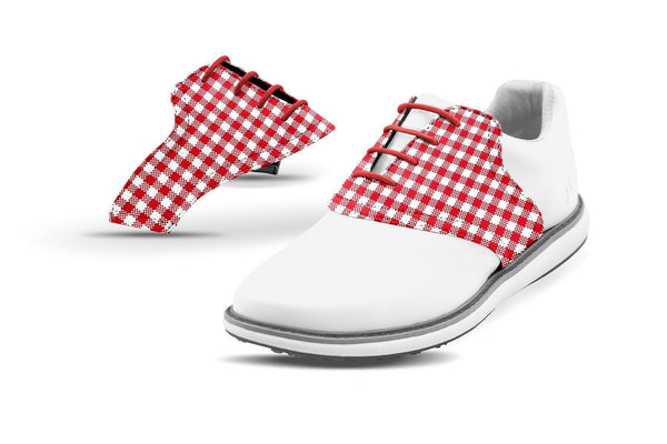 Women's Red Gingham Saddles On White Golf Shoe From Jack Grace USA