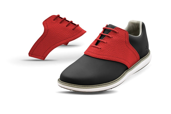 Women's Red Pebble Saddles On Black Golf Shoe From Jack Grace USA