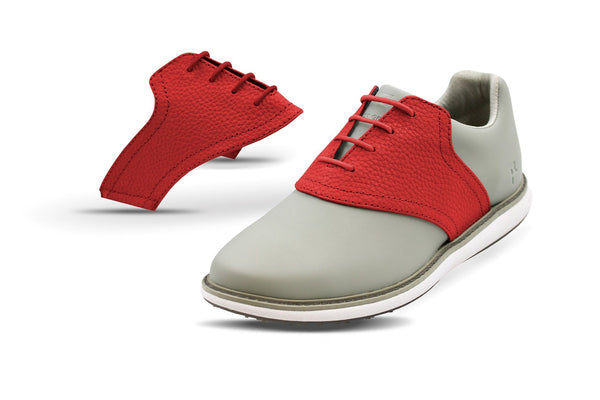 Women's Red Pebble Saddles On Grey Golf Shoe From Jack Grace USA